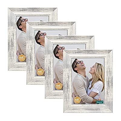 decanit 4x6 Picture Frames Rustic Distressed White Wood Pattern High Definition Glass for Table Top Display and Wall Mounting Photo Frame?Pack of 4