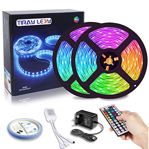 Striscia LED 10M Tiray Ledy Dimmable LED Strip RGB 5050 Impermeabile 300 SMD con 44 Tasti Telecomando, Nastri LED 3M Adhesive LED Strip Light, Ideale per la Casa 12V, per casa, cucina, TV, Bar, festa
