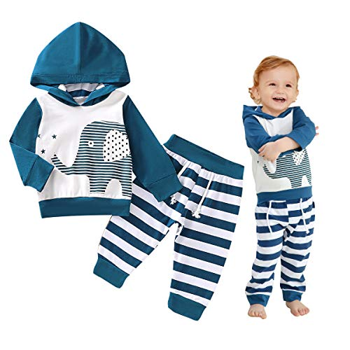Elephant Pattern Long Sleeve Hoodie Tops Sweatsuit Pants Outfit Set for Infant Baby Boys (0-3 Months) Blue