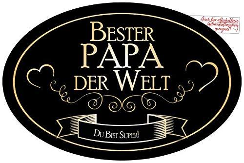 """""""Bester Papa der Welt"""" Aufkleber Flaschenetikett Etikett für den tollsten Vater für Sektflaschen und Weinflaschen oval gold elegant"""