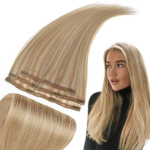 RUNATURE Haarverlängerung Clip in Extensions Echthaar 14 Zoll Extensions Clip in 35cm Farbe 16P24 Goldblond Hervorgehoben Hellblond Haarverlängerung Echthaar 50g 3 Stück