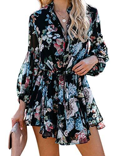 ROVLET Women's Floral Boho V-Neck Button Down Long Sleeve Ruffle Elastic Waist Printed Mini Dress Beach Sundress (Black-Floral, Large)