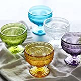 Cuencos de vidrio pequeño Conjunto de 5, tazones de helados Taza de yogurt, patrón de sol patrón de ...
