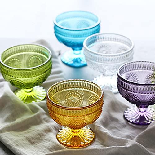 NBJT Juego de 5 cuencos de vidrio pequeños, cuencos de helado, taza de yogur, taza de cristal con patrón de flores para el sol
