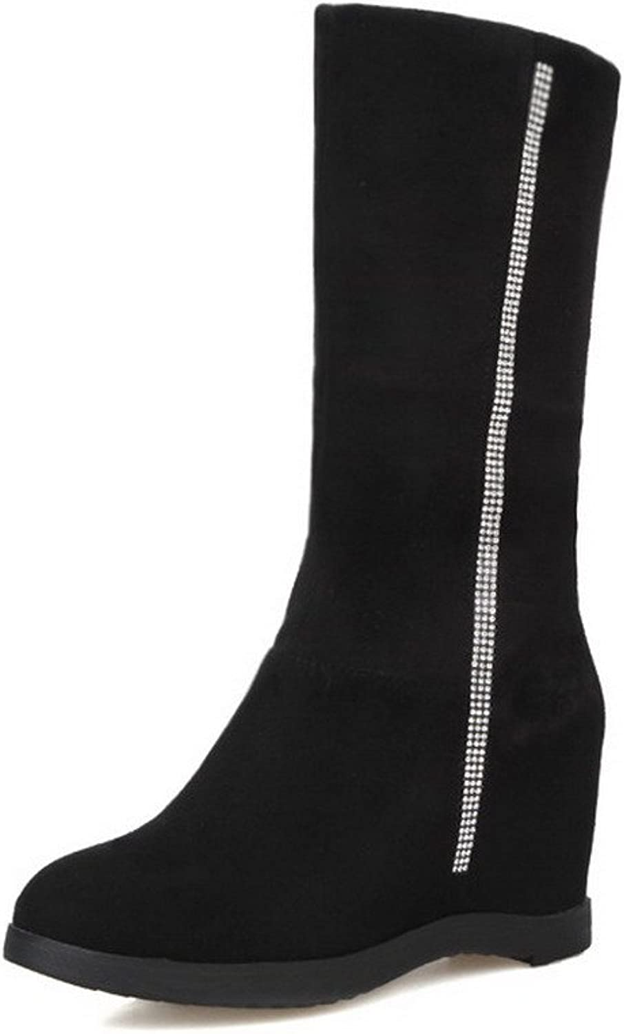AmoonyFashion Women's Round Closed Toe High-Heels Frosted Mid-top Solid Boots