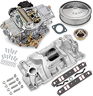 NEW HOLLEY STREET AVENGER CARBURETOR & MANIFOLD COMBO,670 CFM,STRAIGHT,4 BBL,GASOLINE,VACUUM SECONDARIES,ELECTRIC CHOKE,COMPATIBLE WITH SMALL BLOCK CHEVY