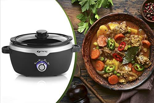 MAGNANI Schongarer 3,5l mit Warmhaltefunktion schwarz, Slow Cooker mit 2 Temperatureinstellungen und Glasdeckel, 190W