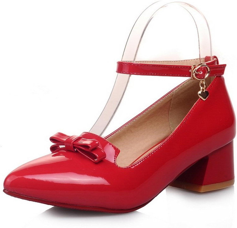 BalaMasa Ladies Bows Metal Buckles Chunky Heels Pointed-Toe Urethane Pumps shoes