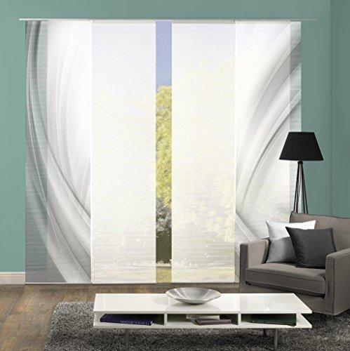 Vision S 94450 | 4er-Set Schiebegardinen UNO | halb-transparenter Stoff in Bambus-Optik | 4X 260x60 cm | Farbe: (grau)