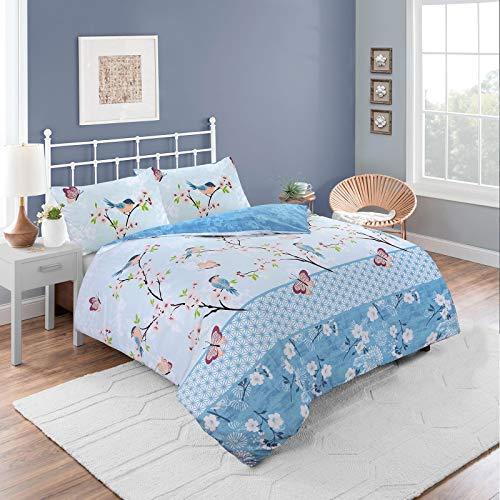 Nimsay Home Oriental Birds Butterfly Floral Soft 100% Cotton Quilt Duvet Cover Bedding Set (Blue, Double)