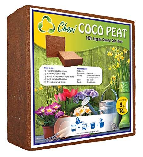 Chavi 5kg (70L) Turba de Coco Lavado 100% orgánico Ladrillo Bloque de Coco para Fines agrícolas de Interior Exterior