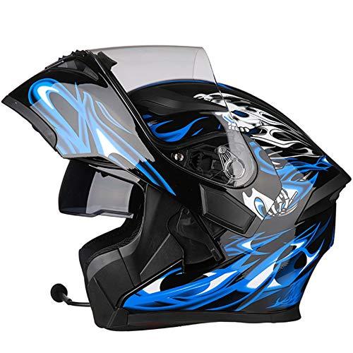 Casco de motocicleta con Bluetooth, para hombre y mujer, color negro y azul