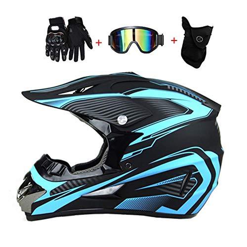 LEENY Motocross-Helm, Schwarz und Blau Motorrad Crosshelm Set mit Brille/Maske/Handschuhe, Motorräder Off-Road Sport ATV MTB BMX Quad Enduro Downhill-Helm Motorradhelm für Herren Damen,M