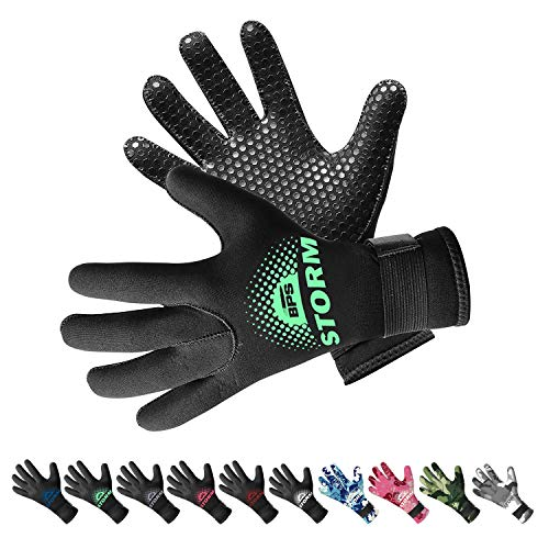 BPS 3mm Neoprene Thermal Gloves with Anti-Slip Palm - Full Hand Gloves for Sailing, Spearfishing, Paddleboarding, Surf, and Other Water Activities - for Men and Women (Black/Mint Green, XXL)