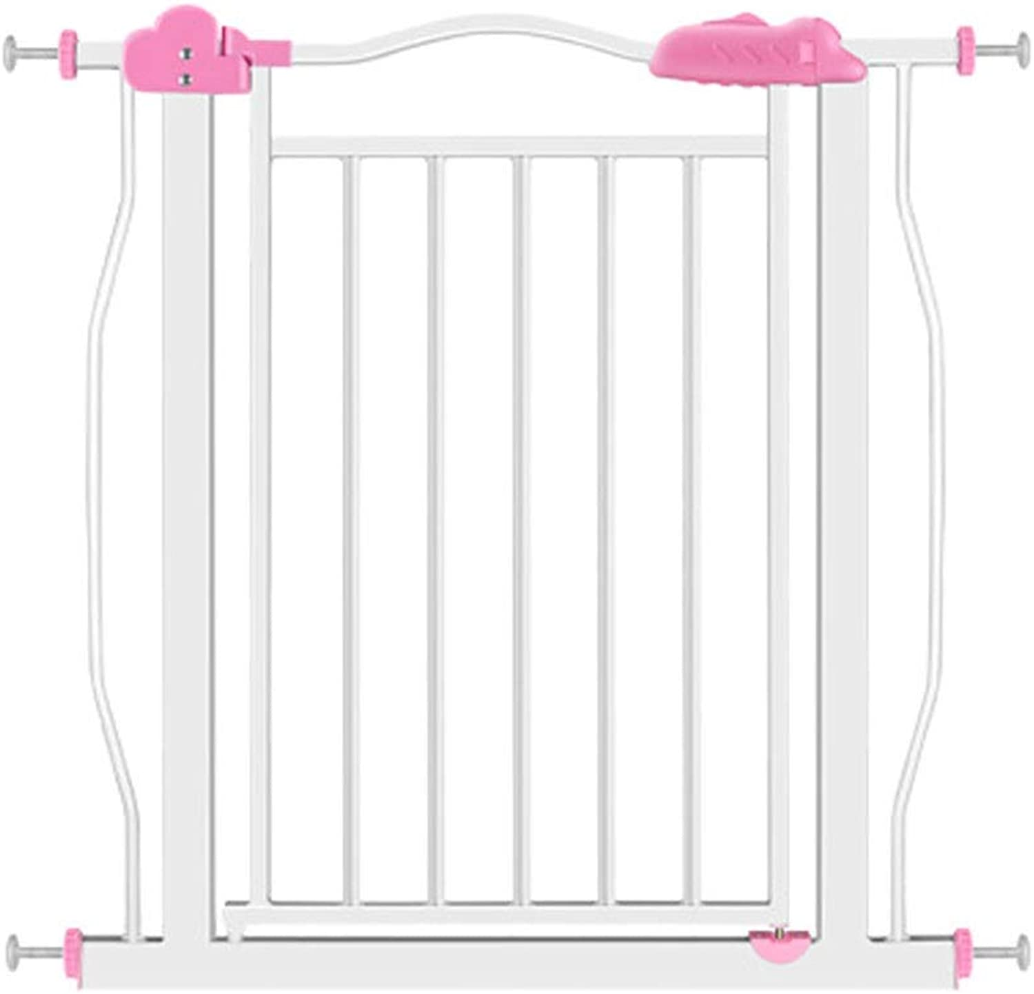 Baby Gates Extra Wide Baby Gates for Stairways & Hallways, Pressure Mounts Pet Gate with Dog Cat Door, 77171cm Wide, 81cm Height (color   Pink, Size   Width 7787cm)