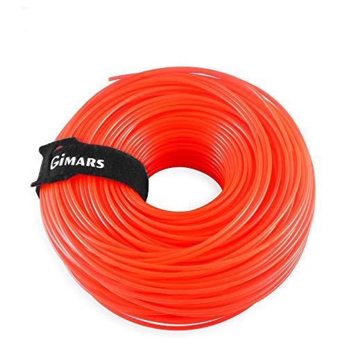 Gimars 110m x 2,4 mm Mähfaden mit Klettkabelbinder, rund Trimmerfaden, Ersatzfaden für Rasentrimmer, orange Freischneider Faden (Rot)
