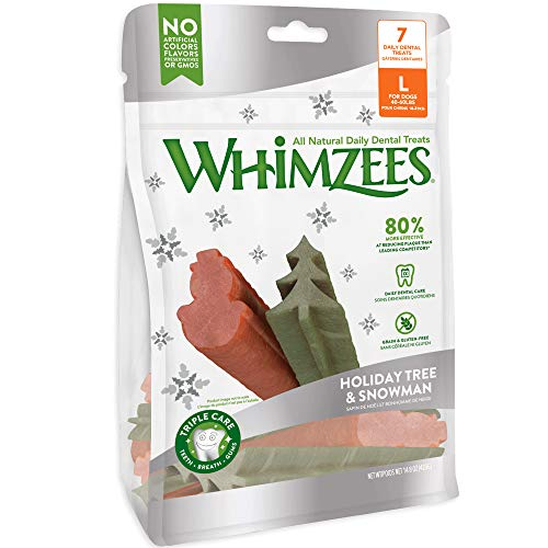 WHIMZEESS Natural Daily Dental Holiday Snowman & Holiday Tree, Large Stix, Bag of 7