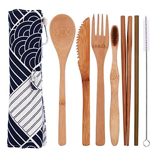INTVN Set de 7 Piezas Cubiertos de Bambú,...