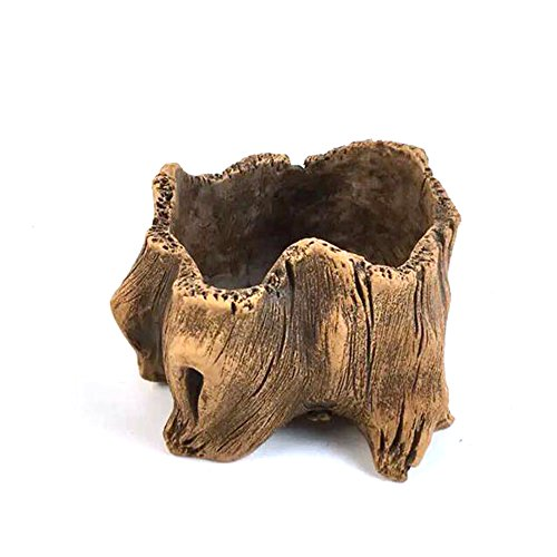 Grandma's Story Vintage Gardening Pots, Creative Imitation Wood Concrete Cactus Succulent Planter...