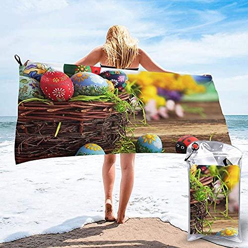Toalla de baño de Huevos de Pascua Coloridos, Toalla de Playa, Uso Multiusos para Deportes, Viajes, súper Absorbente, Microfibra de Secado rápido Suave, Ligero, Blanco, 31.5 'x63