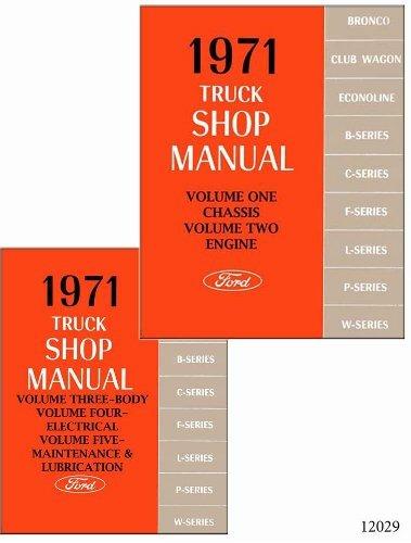 1971 Ford Truck Repair Shop Manual 5 Volume Set Pickup Van Bronco Big Truck