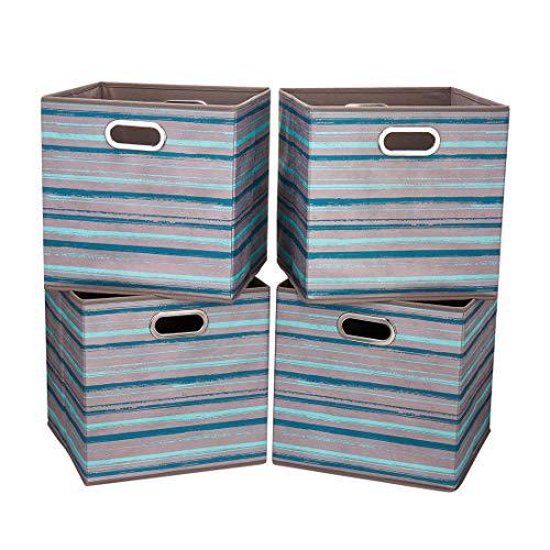 i BKGOO Cajones de almacenamiento grandes plegables Juego de 4 cajones de tela Organizador de cestas de cubos con asas de metal dobles para estantería Gabinete Estantería Rayas gris-azules 33x33x33 cm