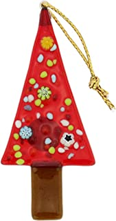 GlassOfVenice Murano Glass Christmas Tree Ornament - Red