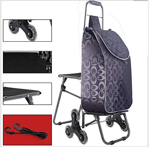 GYLJJ winkelwagen, inklapbaar, waterdichte trapsteiger met 6 wielen, boodschappentrolley met klapstoel