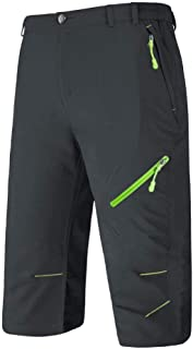 BIYLACLESEN Men's 3/4 Capri Pants Lightweight Quick Dry Hiking Shorts with 4 Zipper Pockets