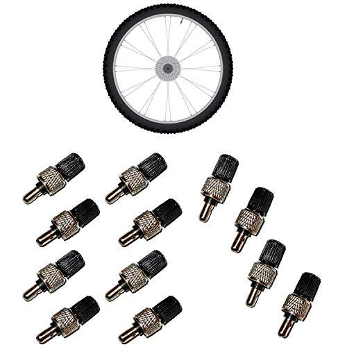 all-around24 4 Stück Fahrrad Ventile Fahrradventil + Muttern + Kappen Blitzventil Fahrradventile Set Dunlopventil
