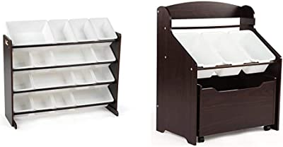 Humble Crew Extra-Large Toy Organizer, 16 Storage Bins, Espresso/White & Espresso Toddler-Size Storage Unit with Rolling Toy Box