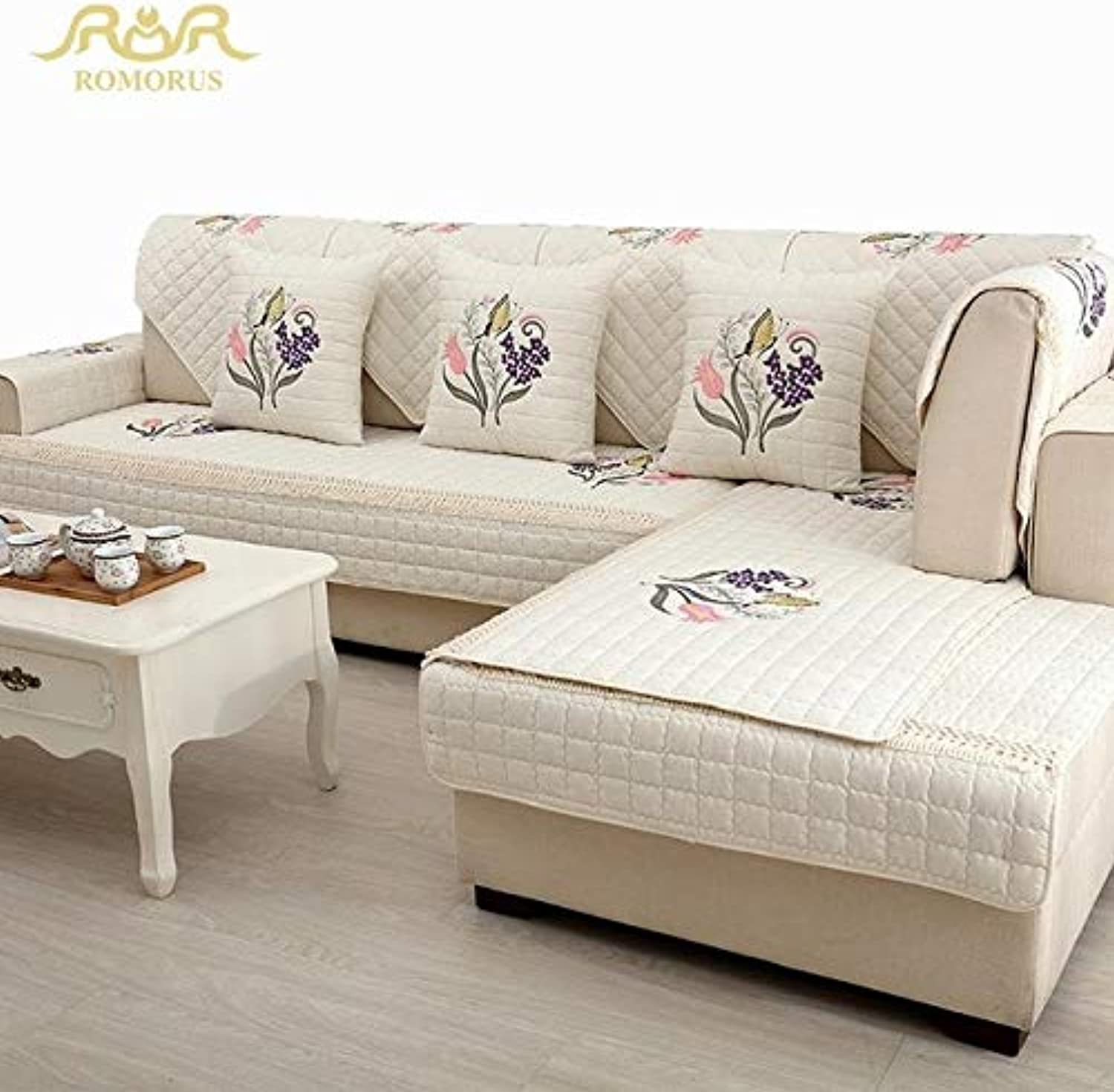 Farmerly 1-Piece Embroidered Slip Sofa Non-Slip Cotton Quilted Corner Sectional Sofa Couch Cover Lig Room Sofa Decoration  Creamy White 04, 90x90cm 1 Piece