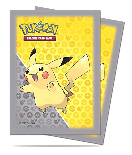Ultra Pro Trading Card Supplies Deck Protectors - Pikachu (Gray Border) (65 Pack), Yellow/Grey