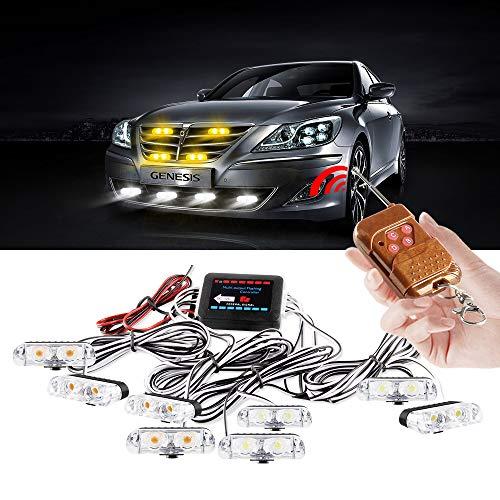yifengshun 8 en 1 luces LED de policía luces estroboscópicas de emergencia para camiones, advertencia, luces intermitentes de precaución, DRL, motocicleta, control remoto inalámbrico(Ámbar+Blanco)