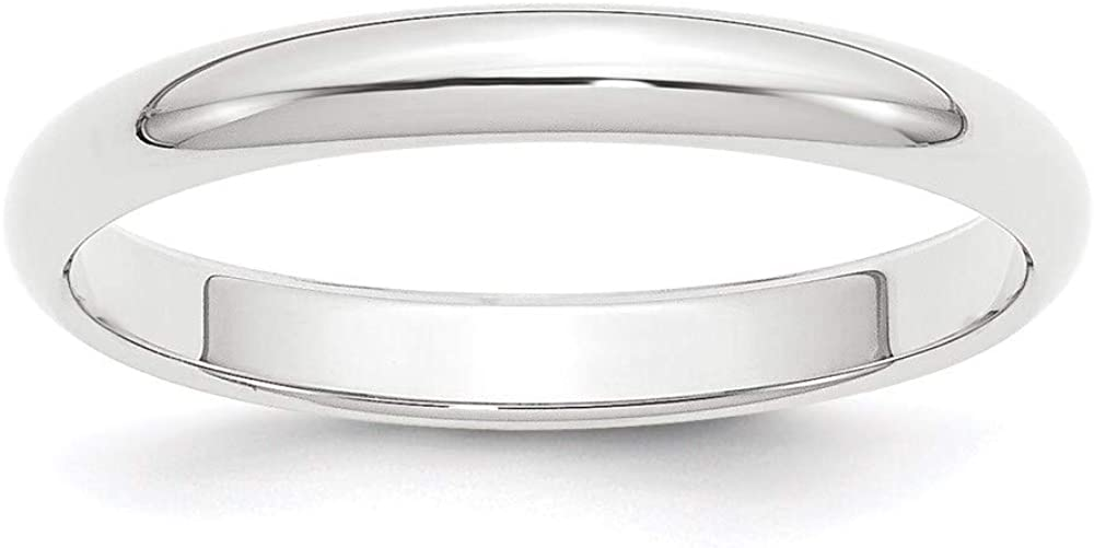 Platinum 3mm Half Round Wedding Ring Band Classic Domed Fashion Jewelry For Women Gifts For Her