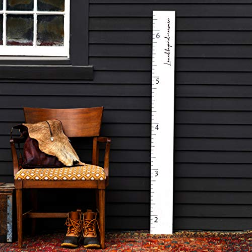 White Washed Wood Boho Farmhouse Wooden Ruler Growth Height Chart (Loved Beyond Measure)