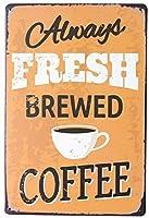 淹れたてのクラシックなイタリアンコーヒー。 ブリキサインヴィンテージ鉄塗装メタルプレートノベルティ装飾クラブカフェバー。