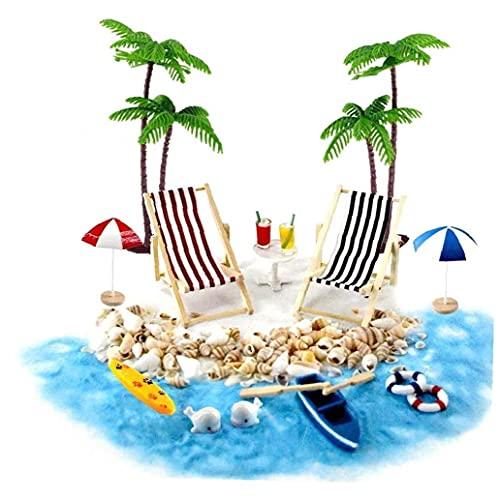 NOPEILVI Estilo de Playa Muñeca Muñeca Muñeca Accesorios Miniatura Playa Conjunto Decoración Playa Micro Paisaje con tumbonas Parasoles Palmera para Verano Mini Muebles de jardín 18pcs