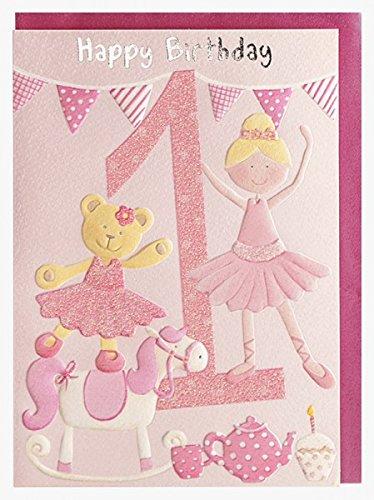 Geburtstagskarte Happy Birthday 1. Geburtstag Mädchen Prinzessin und Bär