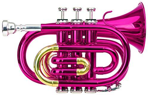 Classic Cantabile Brass TT-400 Bb-Taschentrompete (Messing, Schallbecher Durchmesser: 93 mm, Bohrung: 11,8 mm, Stimmung: Bb, inkl. Leichtkoffer, Mundstück, Putztuch, Handschuhe) pink