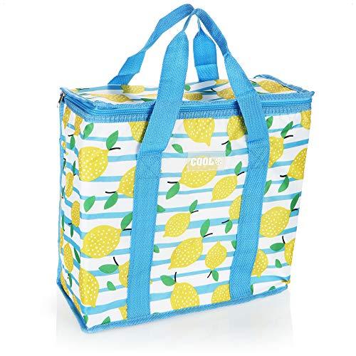 com-four® Kühltasche - robuste Faltbare Thermo-Kühlbox, leichte Isoliertasche für Camping & Outdoor, sommerliche Picknicktasche (01 Stück - Blau - Zitronen - 16l)