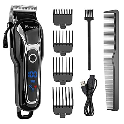 Lovebay Kit of Professional Electric Cordless Hair Clippers Shaver for Men/Kids/Baby/Barber, Rechargeable,Titanium Blade + LCD Screen + 4 Combs for Family