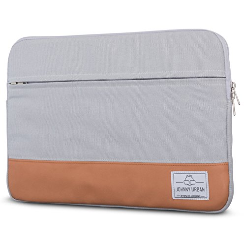 Johnny Urban Laptophülle 13-13.3 Zoll Grau Canvas Laptop Sleeve Laptoptasche Hülle für Surface Book, Acer, Asus, Samsung, Dell, Toshiba UVM. - 13/13.3