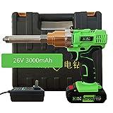 isunking Pistola Remachadora Eléctrica Ciega Recargable, Pistola de Remache Eléctrica Industrial 26V 3000mAh con Luz LED 2.4/3.2/4.0/4.8/5.0MM Remache