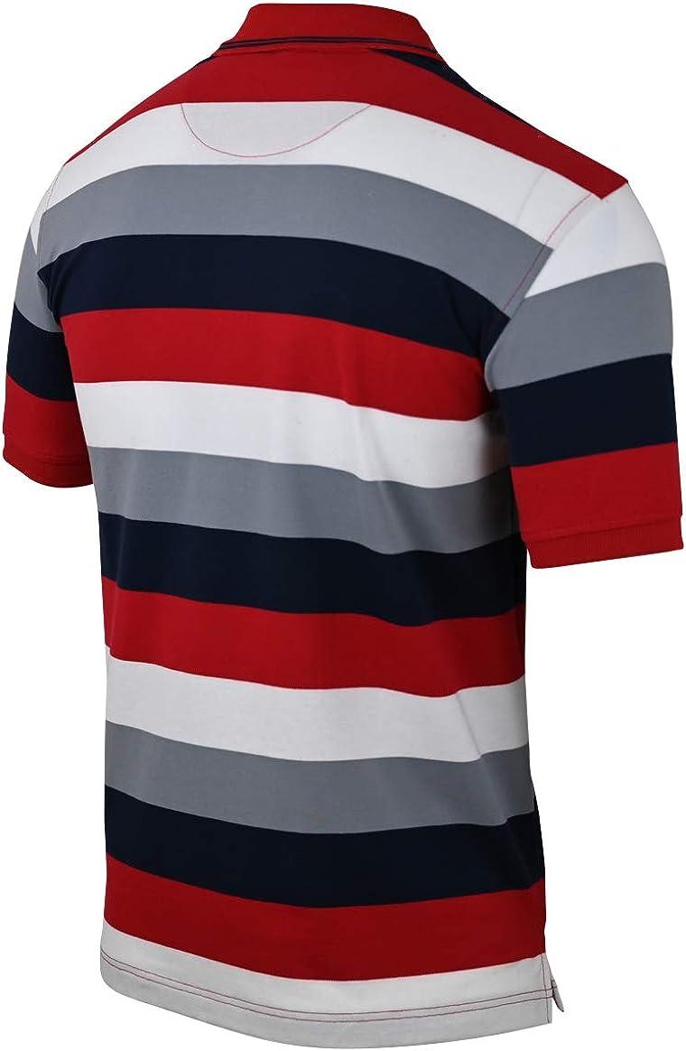 Humy Polo de manga corta para hombre con cuello, camisetas a rayas con bolsillo en el pecho de mezcla de algodón (M hasta 3XL)