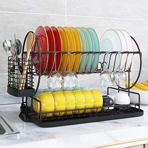 Dishes Drying Rack and Drainboard Set for Kitchen Counter, 2 Tier Dish Drainer, Multifunction Dishes Strainers with Drainage, Bronze