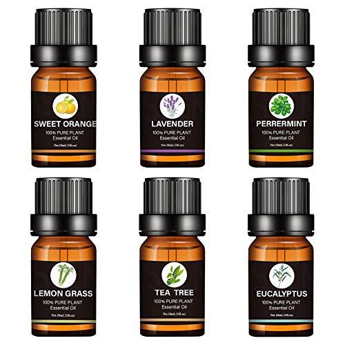 Yoouo Ätherische Öle Set Aromatherapie Duftöl Öl 6X 10ml Für Aroma Diffuser 100 Pur Geschenkset Aromatherapie-Öl-Kit Eukalyptus, Lavendel, Zitronengras, Orange, Minze, Teebaum