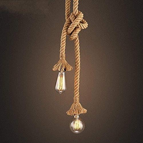 Lustre rétro corde pendentif lumière Loft lampe Vintage Restaurant Bedroo Salon Lustre 200cm