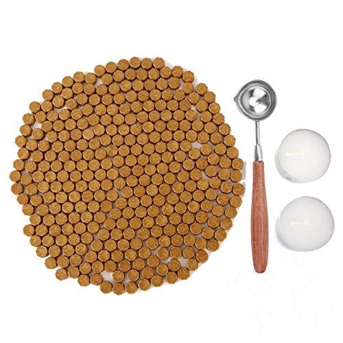 KELZIA Wellness 230 Pezzi di Cera sigillante Ottagonale con 2 Candele da tè + 1 Cucchiaio da sciogliere. Cera per Sigillo di Cera (Oro Antico)