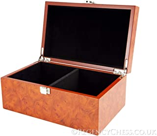 Regencychess Root Wood Burl Chess Piece Case with Hinged Lid Large